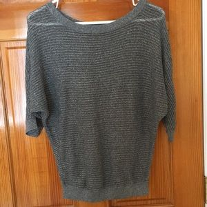 Express Gray Shimmer Dolman Sweater - Small